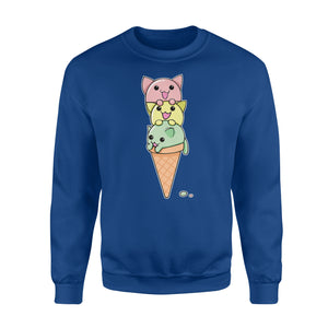 Cat Ice Cream Cone Funny Kawaii Kitten Sweatshirt