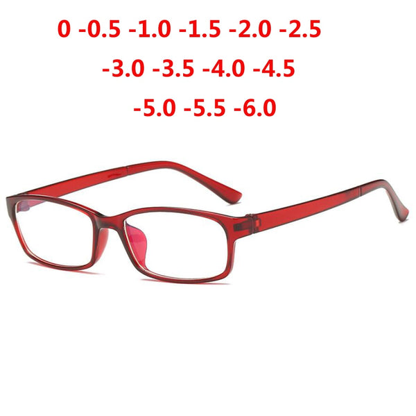 0 -1 -1.5 -2 -2.5 -3 -3.5 -4 -5 -6 Finished Myopia Glasses Men Short-sight Eyewear Red Frame Women Diopter Eyeglasses