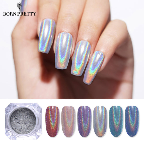0.5g Holographic Laser Nail Glitters Holo Rainbow Nail Art Powder Nail Tip Chrome Dust Manicure Nail Art Decorations