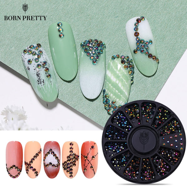 1 Box Black Shiny Nail Rhinestones 3D Nail Art Decorations in Wheel Flat Bottom Manicure DIY Nail Art Accessories