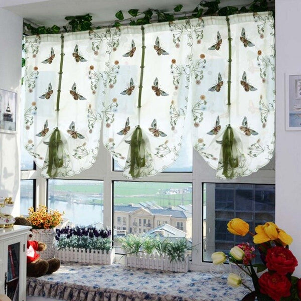 1 PCS Pastoral Tulle Window Roman Curtain Embroidered Sheer For Kitchen Living Room Bedroom Window Curtain Screening Butterfly