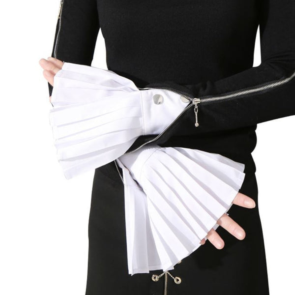 1 Pair Detachable Sleeve Cuffs Shirt Pleated Horn Flare Sleeve Cuffs Over Sleeve  New Fashion White Black Blue