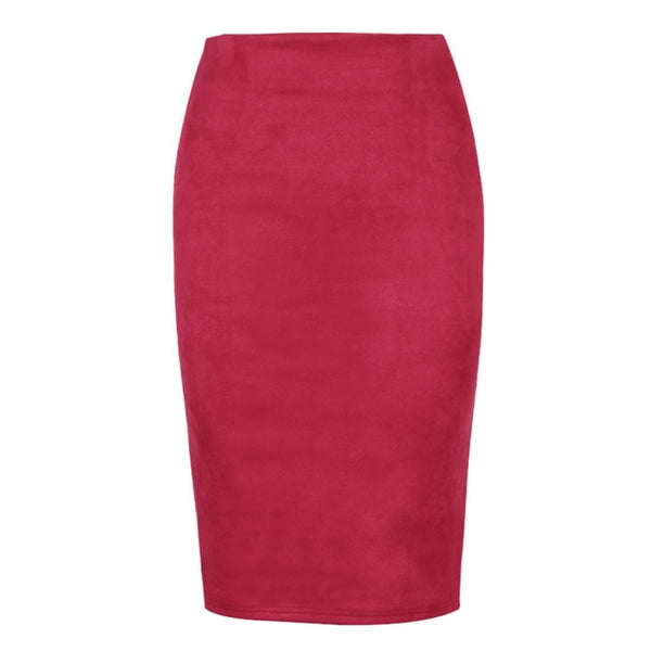 10 colors size S M L XL Women Winter Solid Suede Multi Package Hip Pencil Midi Skirt Autumn Winter Bodycon Femininas