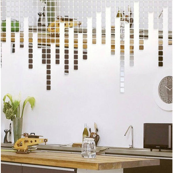 100Pcs 2*2CM  Acrylic Mirror Wall Stickers Decal Square Mosaic Room Wall Sticker for Kids Rooms Home Decoration