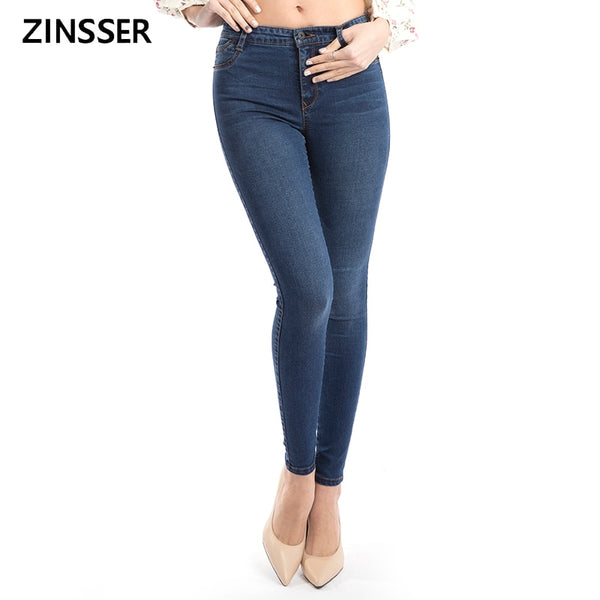 11.11 Autumn Winter Women Denim Skinny Pants Fake Front Pocket Waist  Blue Grey Black  Slim Elastic Lady Jeans