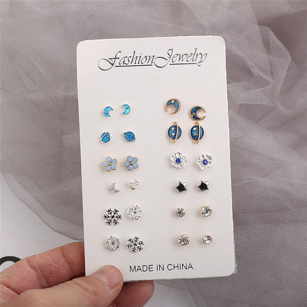 12 Pairs/set, Htzzy New Statement Earrings for Women Fashion Moon Universe Silver Color Stars Stud Earring Crystal Earrings