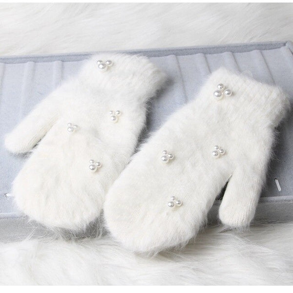 12 color  Fashion women winter gloves Luxury Pearl Decoration Rabbit Fur Gloves For Girl winter outdoor Female mittens Luav