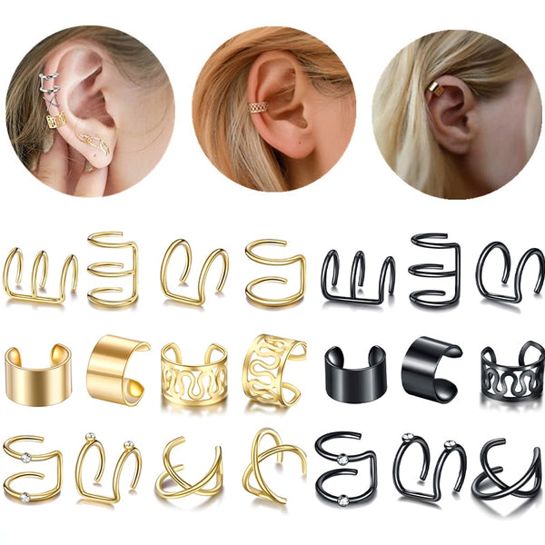 12pcs/set Fashion Gold Color Ear Cuffs Leaf Clip Earrings for Women Climbers No Piercing Fake Cartilage Earring Accessories