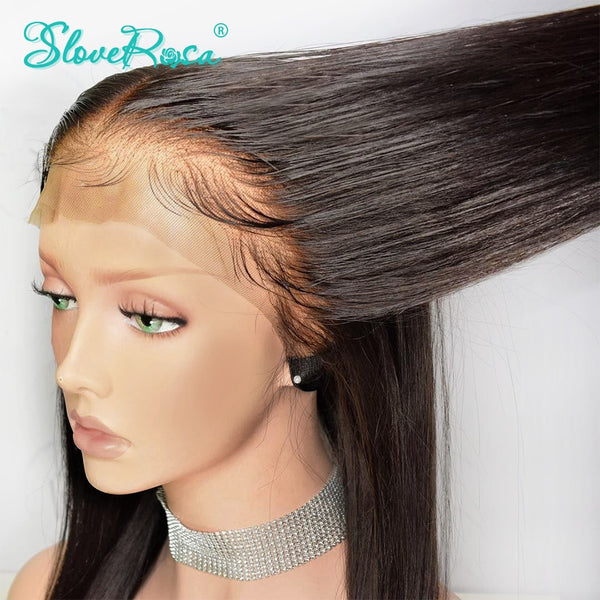 130% Density Straight 13X4 Lace Front Human Hair Wigs For Black Women Brazilian Remy Hair Pre Plucked Bleached Knot Slove Rosa