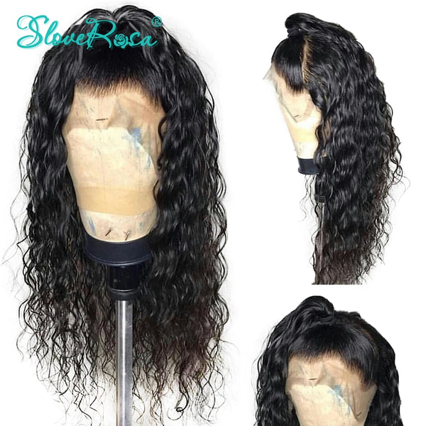 13X4 Lace Front Human Hair Wigs 130 Density Water Wave Brazilian Remy Hair For Black Women With Baby Hair PrePlucked Slove Rosa