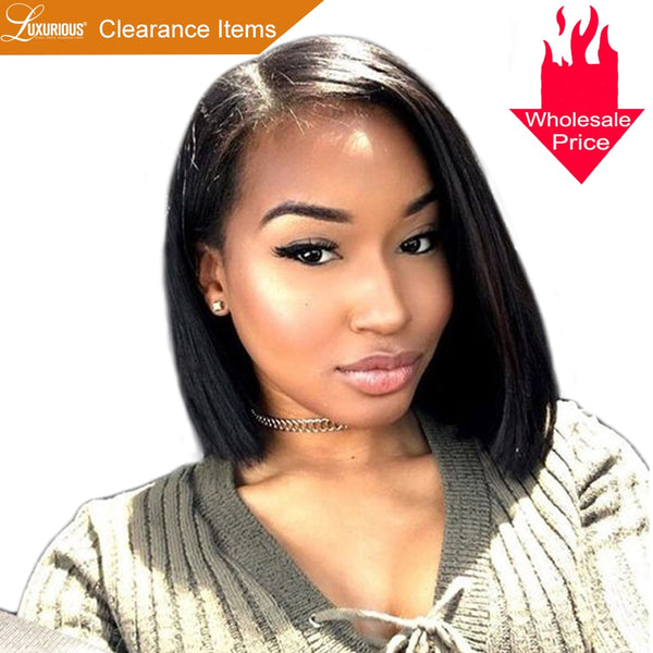 150% Short BOB Wig For Women Brazilian Remy Hair Straight Lace Front Human Hair Wigs Side Part Bleached Knots Medium Size