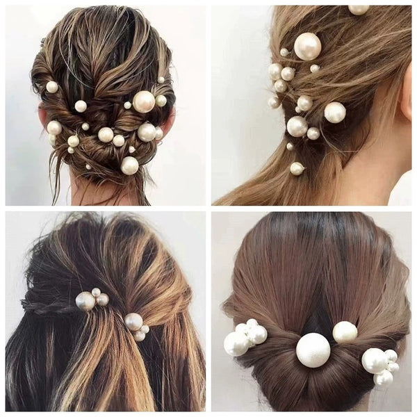 18 pics/lot Women Sparkling Pearls Hairpins Handmade Silver Hair Sticks European Pearls Hairbands Wedding Hair Accessories