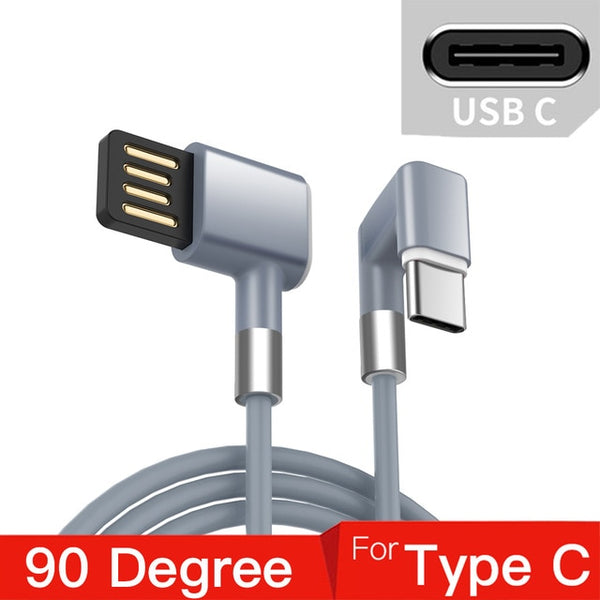 180 Degree Micro USB Type C Cable Fast Charging Wire for Samsung Galaxy S8 S9 Plus Huawei Mobile Phone USB C Charger Cable