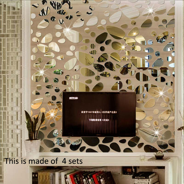 18pcs/set 3D DIY Wall Sticker Decoration Mirror Wall Stickers For TV Background Home Decor Modern Acrylic Decoration Wall Art