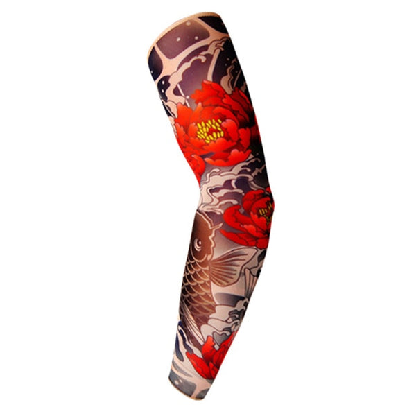 1PC Fake Tattoo Arm Warmers Cycling Sleeves Nylon Men Women Kid Fashion UV Sun Protection Outdoor Driving Arm Sleeves