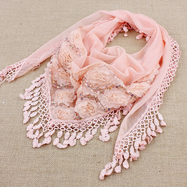 1PC New Fashion Female Women Tassel Shawls And Scarves Autumn Women Silk Flower Lace Triangle Pendant Scarf Fashion Women Scarf