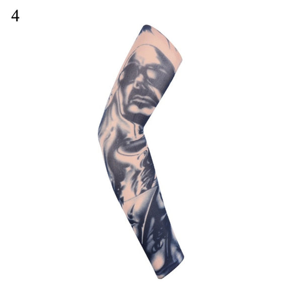 1PCS Outdoor Cycling Sleeves 3D Tattoo Printed Arm Warmer UV Protection Sleeves Basketball Volleyball Arm Sleeves Arm Warmer
