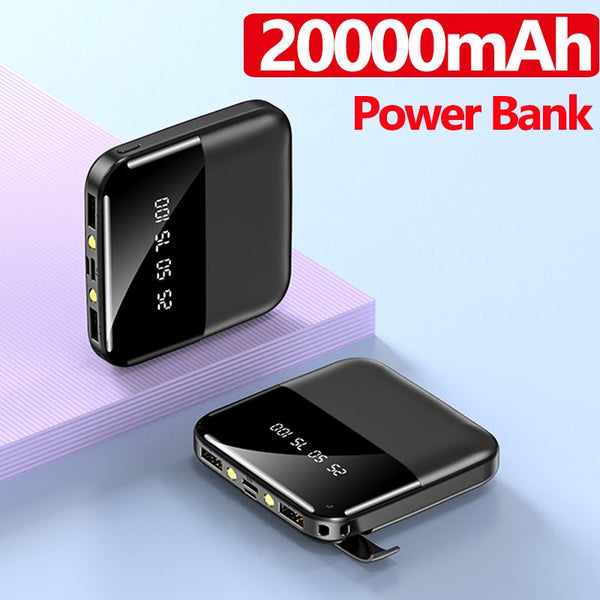 20000mAh Mini Power Bank Fast Charger for Iphone Xiaomi Huawei 2 USB LCD Type C Powerbank Portable External Battery Pack