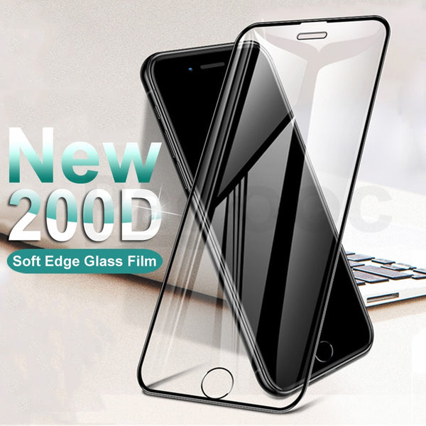 200D Curved Edge Protective Tempered Glass On The For iPhone 6S 6 7 8 Plus X XS Glass XR 11Pro Xs Max Screen Protector Film Case