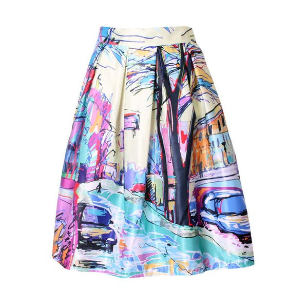 Spring Summer New Ladies Elegant Fashion Graffiti Print Painting High Waist Midi Skirt Holiday Wear Saia Femininas SK083