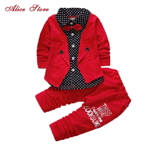 Boys Spring Two Fake Clothing Sets Kids Boys Button Letter Bow Suit Sets Children Jacket + Pants 2 pcs Clothing Set Baby