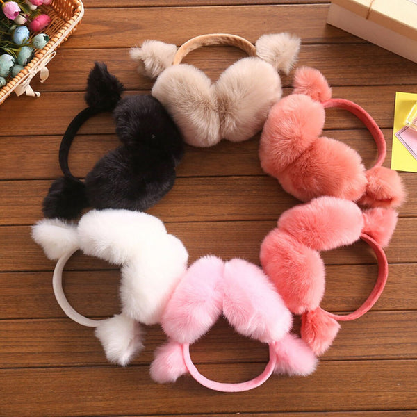 New Fashion Rabbit Winter Earmuffs For Women Warm Fur Earmuffs Winter Warm Ear Warmers Gifts For Girls Female