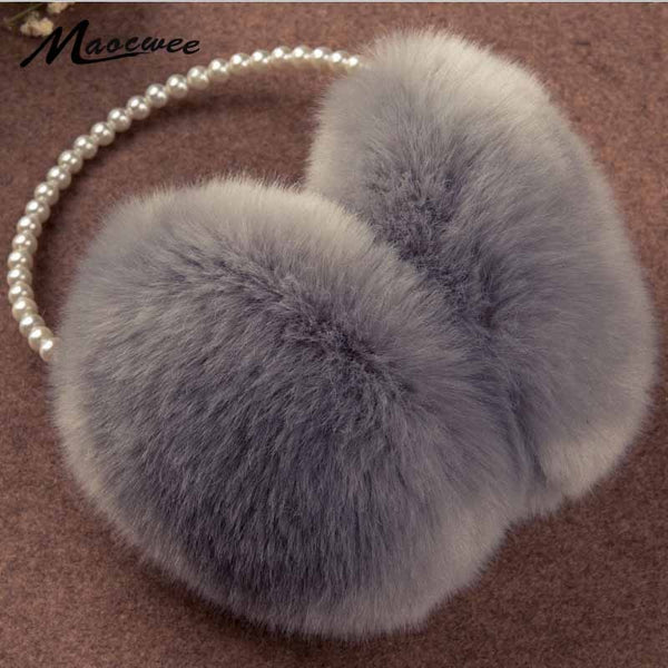 Pearl Winter Earmuff Imitation Rabbit Women Fur Earmuffs Winter Ear Warmers Large Plush Warm Earmuffs Ear Package Brand