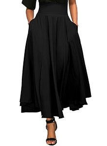 Autumn Winter Pocket Dress  Ankle-Length Back Bow Vintage Skirt For Women Black Long Skirt