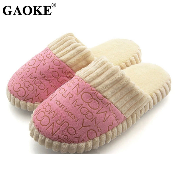 Autumn Winter Warm Non-Slip Slipper Men Women Cotton-padded Home Slippers Rubber Sole Sewing Indoor Soft Plush Shoes