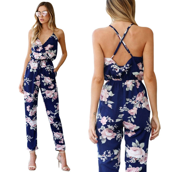 Rompers Womens Jumpsuit Summer Ladies Blue Sexy Deep V Neck lace Up Sleeveless Floral Back Cross Casual Jumpsuit Femme