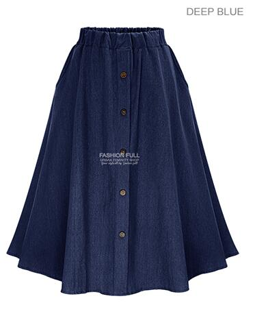 Fashion Korean Preppy Style Denim Women Solid Color Long Skirt Nature Waist Female Big Hem Casual Button Jean Skirt B81811A