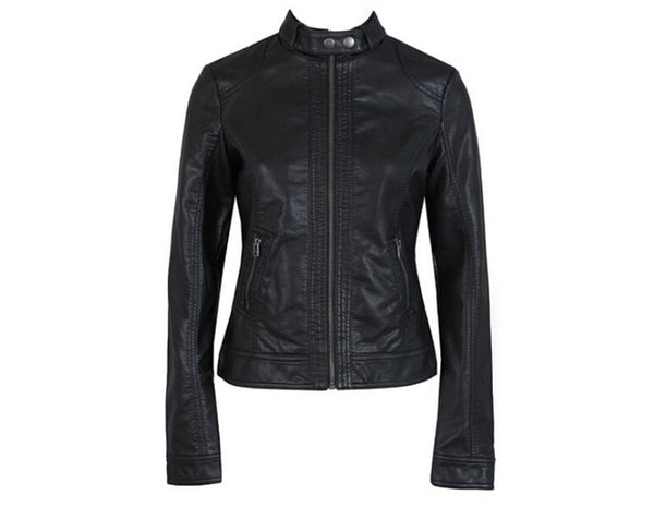 Fashion New Women's Jacket European Fashion Leather Jacket Pimkie Cleaning Single PU Leather Motorcycle Temale Women's Leat