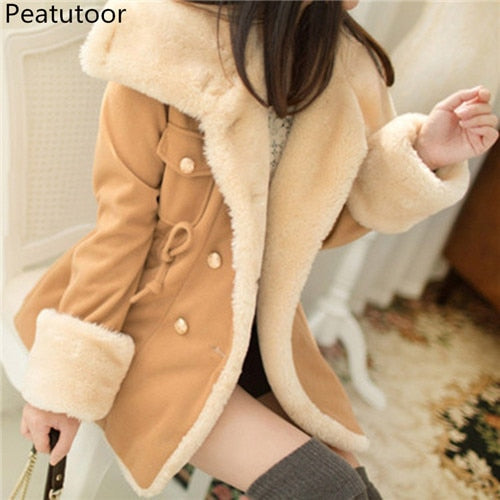 Jackets For Women Autumn And Winter Casual Solid Slim Thick Double Breasted College Wind Cotton Coats Women Plus Size S-5XL