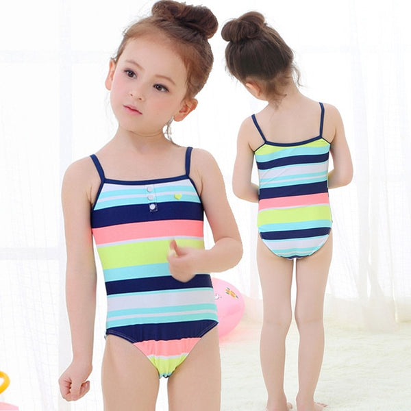 2018 Little Girls One-piece Striped Swimsuit Baby Girl Swimwear Toddler Baby Swimsuits Children Bathing Swim Suit Kids Costume