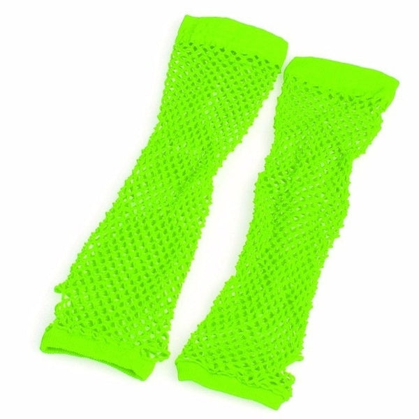 New Crochet Lace Punk Gothic Disco Costume Long Fishnet Dance Mesh Fingerless Gloves Black, Red, Fluorescent Green