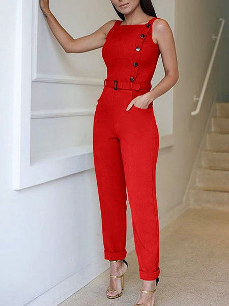 New Fashion Summer Women Stylish Casual Elegant Jumpsuit Sleeveless Solid Color Button Design Jumpsuit