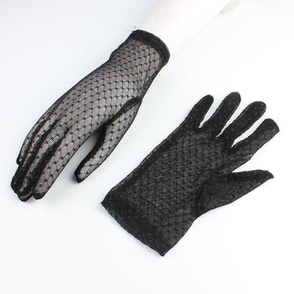 New Summer Gloves Women Sexy Lace Mesh Black Drivng Gloves Anti Uv Sunscreen Full Finger Elegant Lady Dance Gloves AGB241