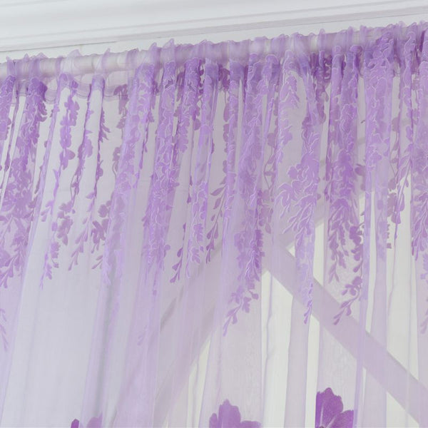 New Window Curtains 1M*2M Sheer Voile Tulle for Bedroom Living Room Balcony Printed Tulip Pattern Sun-shading Curtain