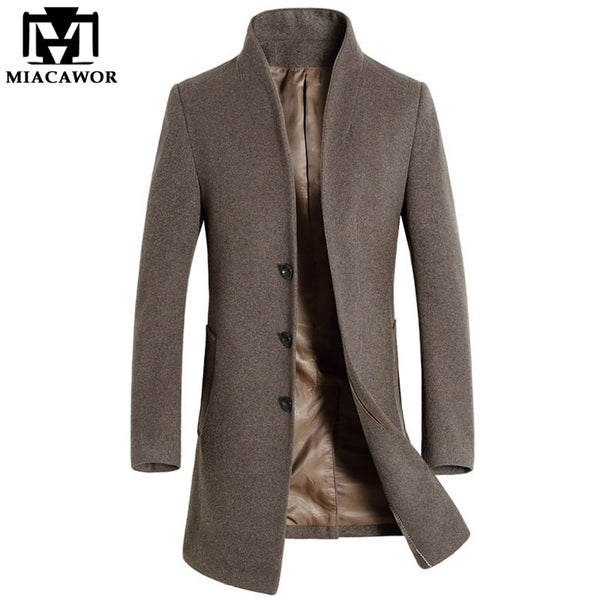 New Winter Men Wool Trench Coat Men Long Trench Slim Fit Overcoat High Quality Men Coats Fashion Trench Outerwear MJ340