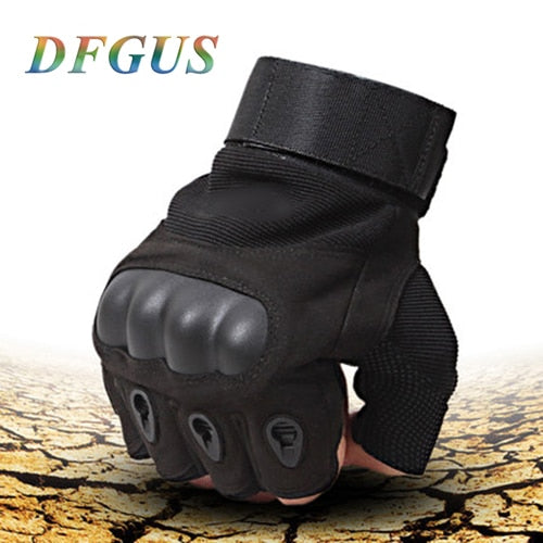 Sale Us Army Men's Tactical Gloves Outdoor Sports Half Finger Military Combat Anti-Slip Carbon Fiber Shell Tactical Gloves