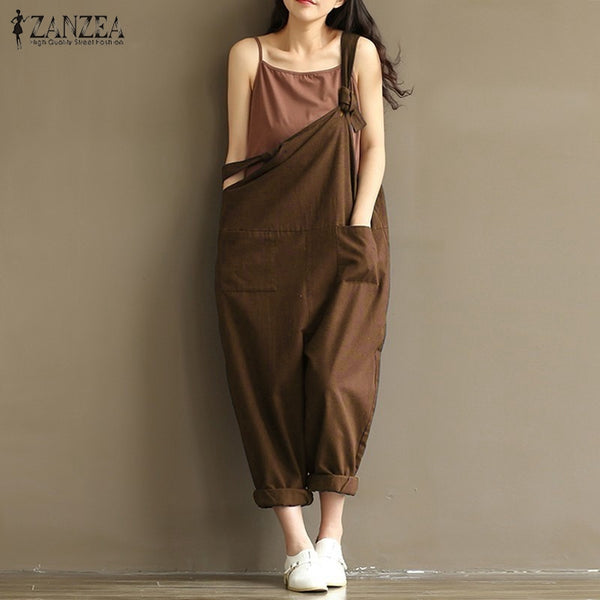 Summer Autumn ZANZEA Rompers Womens Jumpsuits Vintage Sleeveless Backless Casual Loose Solid Overalls Strapless Paysuits