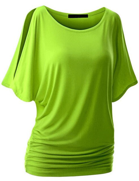Summer Fashion Women Crossover candy color T-shirt Famale  Batwing dolman Sleeve casual Loose T-shirt Drape Top S-5XL