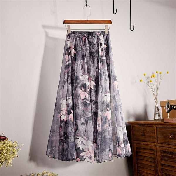 Summer New Fashion Vintage Bohemia Chiffon Floral Printed Women Boho Floor-Length Long Maxi Beach Party Loose Flare Skirt