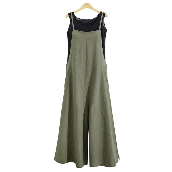 Women Cotton Linen Wide Leg Romper Casual Strappy Sleeveless Loose Long Jumpsuit Dungaree Party Overalls