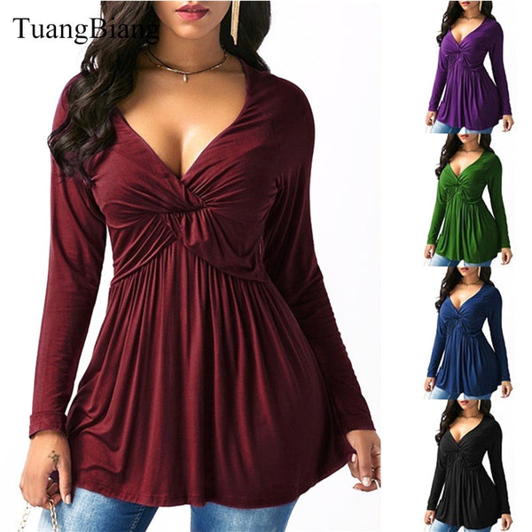 Women Autumn Draped Long Sleeve T shirts Loose Sexy camiseta feminina Deep V Neck T Shirts Winter Plus Size Long Style Tops