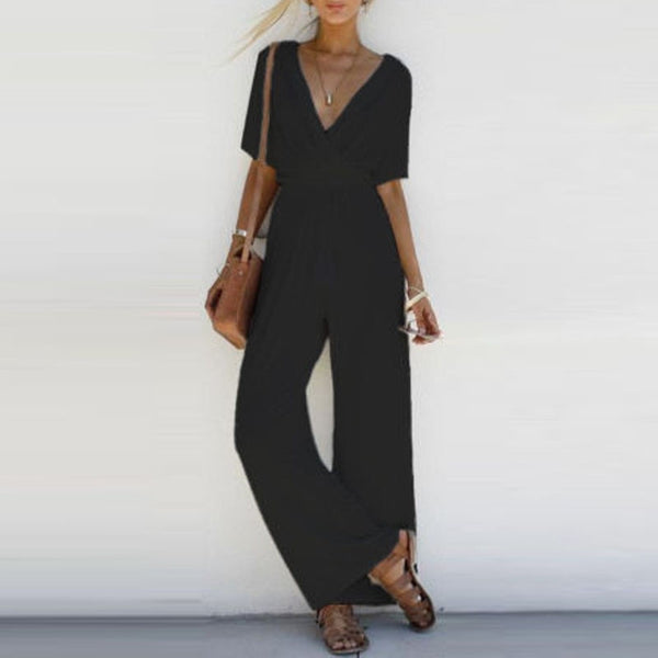 Women Jumpsuit Romper Short Sleeve V Neck Casual Playsuit Overalls Ladies Wide Leg Loose White Black Pink Playsuit