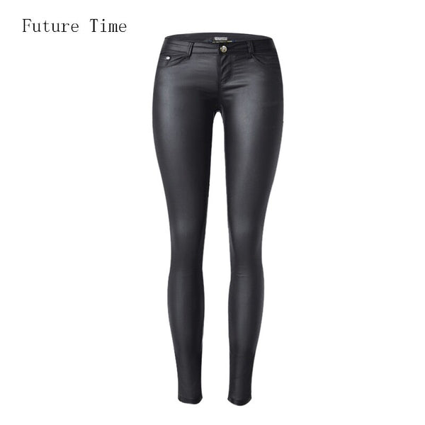 Low waist women jeans sexy stretch elastic Faux leather jeans low waist slim skinny pencil pants washed coated jeans C1074