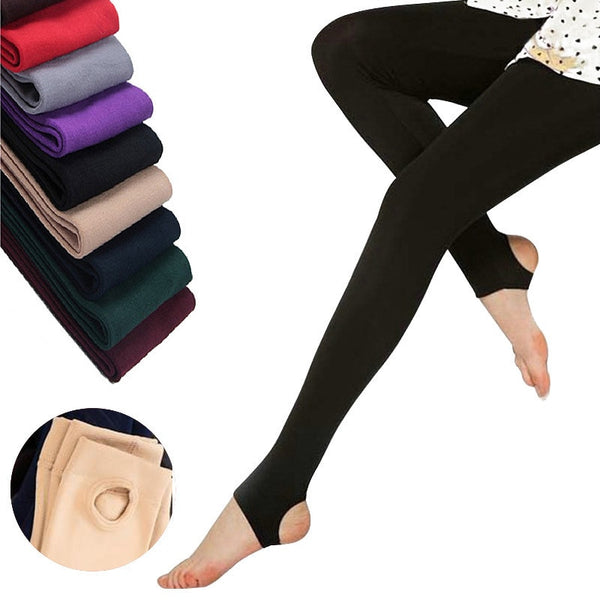 Autumn winter woman thick warm leggings candy color brushed charcoal Stretch Fleece Pants Trample Feet Leggings