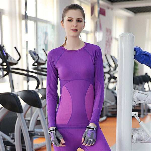 Thermal Underwear Women tops leggings underwear sets compression underwear Women Fitness clothing