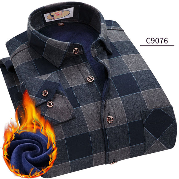 Fashion Men's Winter Warm Plush Slim Shirts 24 Colors Striped Plaid Print Blouse For Men Casual Retro Clothes Size M-5Xl